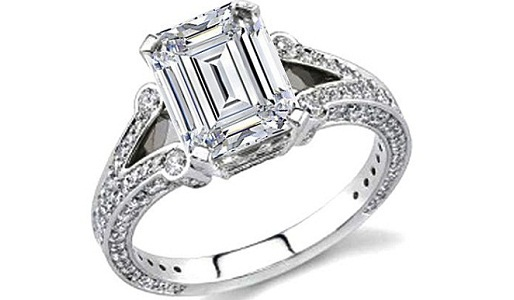 Emerald Cartier Cut Diamond Engagement Ring