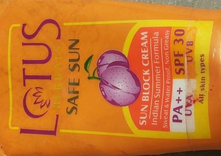Lotus Sweat and Waterproof Sun Block Cream with SPF 30